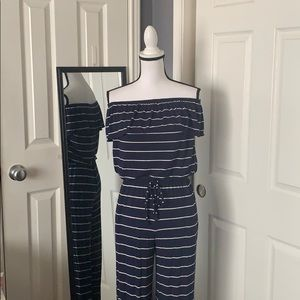 Max Studio navy and white jumpsuit